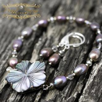 Комплект из натурального жемчуга браслет и серебряные серьги с жемчугом