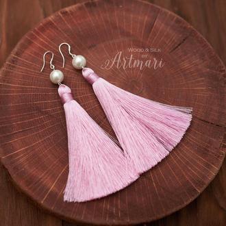 Шелковые серьги-кисти Розовые