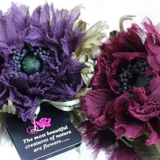 Шелковый мак. Цветы из ткани