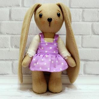 Игрушка бежевый кролик зайчик из флиса в платье с большими ушами с набором одежды