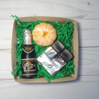 """Сувенирное мыло, набор """" Шампанское, шоколад и мандарин """""""