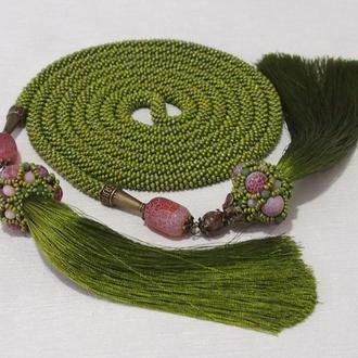 Длинный жгут лариат в оливковом цвете