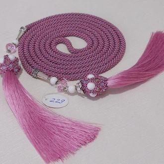 Длинный жгут лариат в розовом