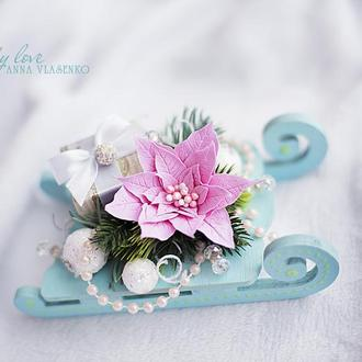 Декоративные санки Розовая мечта