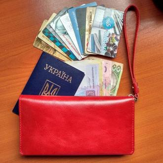 Кожаный женский кошелек Алькор красный