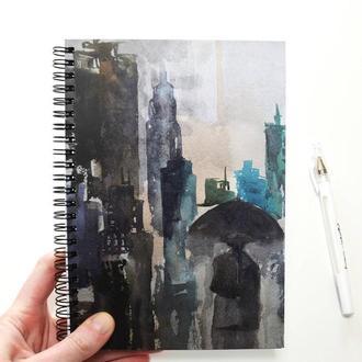 """Блокнот с черной бумагой + белая ручка. Авторская иллюстрация """"Дождь в Нью-Йорке"""""""