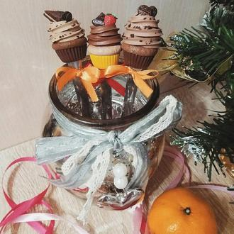 Шоколадные и кофейные капкейки чайные ложечки