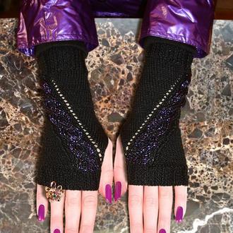 Митенки - перчатки без пальцев - изящный дизайн