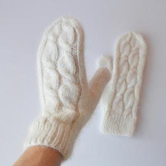 Вязаные варежки из шерсти, альпаки и шелка
