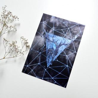 """Авторская открытка """"Геометрический олень"""""""