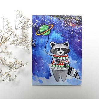 """Авторская открытка """"Енот"""""""