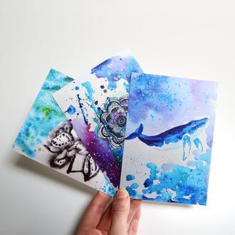 Набор из трех авторских открыток: кит, мандала, пион