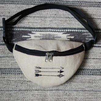 """Бананка с рисунком """"Стрелы"""", поясная сумка из текстиля"""