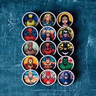 """Коллекция деревянных значков """"Comicsheroes"""""""