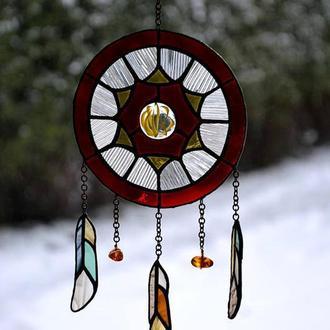 Витражный ловец снов с янтарем