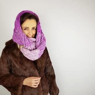 зимний набор шапка шарф снуд градиент Лало косы