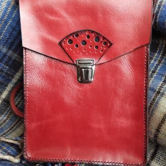 "Кожаная сумка через плечо ""RED"""