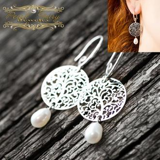 Сережки з натуральними перлами, срібло 925 застібки сережок