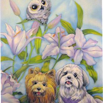 платок собачки с лилиями