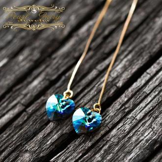 Позолоченные серьги Сердце кристаллы Swarovski цвета Bermuda Blue