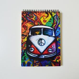"""Скетчбук черные страницы и белая ручка. Авторский рисунок """"Хиппи автобус"""""""