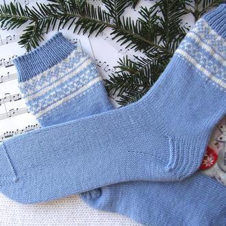 """Носки вязаные """"Зимний блюз"""""""