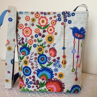 """Текстильная сумка """"В саду синей птицы"""""""