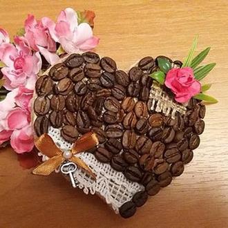 Магнит кофейное сердце