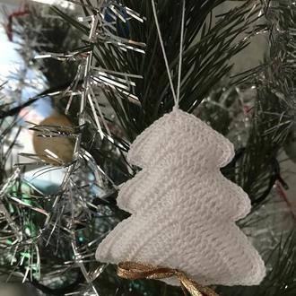 """Новогодняя игрушка """"Елочка"""" белого цвета"""