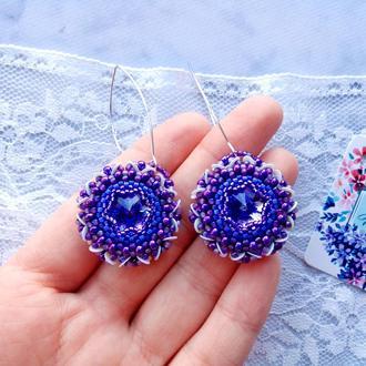 Серьги Фиолетовые Лиловые Лавандовые Бубочки