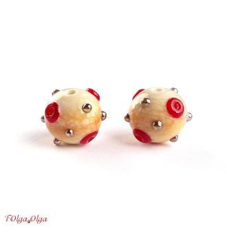 Пара бусин Кратеры красные (лэмпворк стекло)