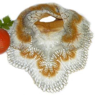 Мини-шаль оранжево-серо-белая Ажурная Легкая 100% овечья шерсть Кауни Ручная работа