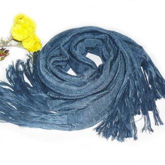 Шарф-палантин Синий Аргентинская шерсть Мягкий Длинный