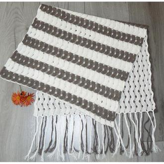 Шарф-палантин с полосками Итальянская шерсть Белый Серокоричневый