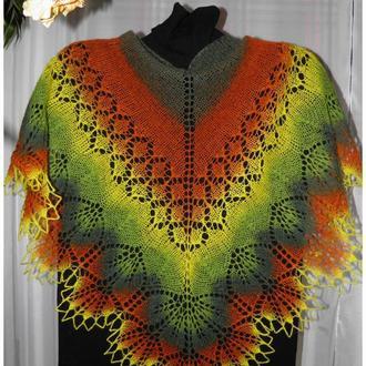 Мини-шаль желто-зелено-коричневая Овечья шерсть Кауни Бактус