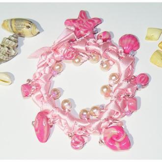Резинка для волос / браслет Розовое море Полимерная глина Бисер Бусины