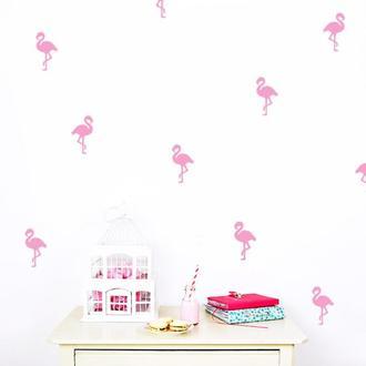 Наклейка на стену конфетти Фламинго