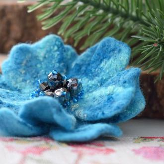 Брошка квітка ручної роботи валяна із шерсті брошь цветок подарунок подарок