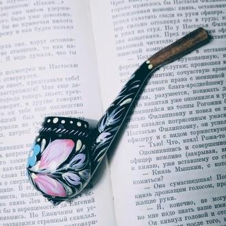 Сувенирная трубка для курения ручная роспись Барвинок