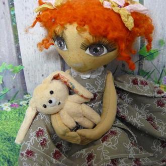 """Текстильная сидячая кукла """" Мери"""""""