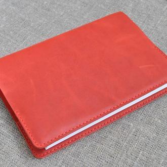 Обложка для блокнота формат А5 из красной кожи B08-580