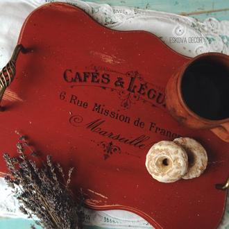 Поднос деревянный «Cafes Legumes». На заказ