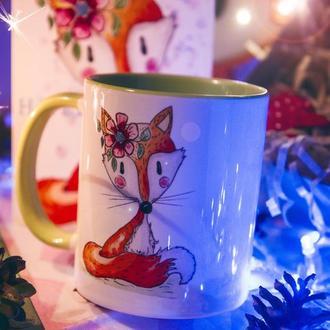 """Чашка з авторською ілюстрацією """"HAPPY FOX"""""""