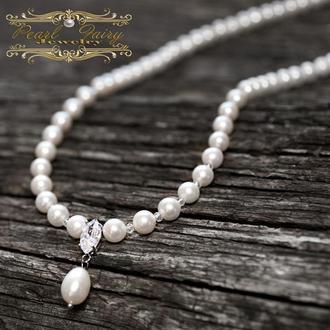 Кольє з натуральних перлів та циркону, застібка срібло 925