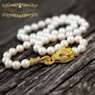 Кольє з перлів з позолоченим інкрустованим цирконами Тигром