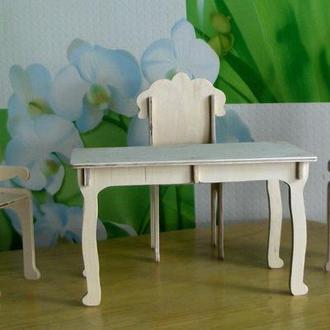 Обеденный стол с стульями дляя кукол барби. Кукольная мебель