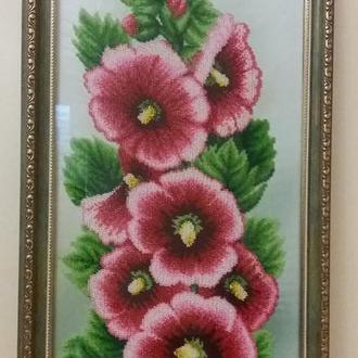 """Картина """"Цвет Мальвы"""", бисер, частичная зашивка, 25*63 см."""