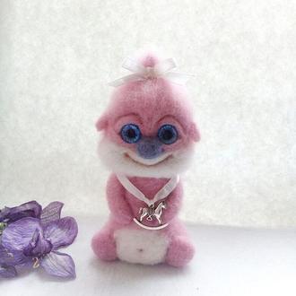 """Інтерєрна іграшка Домовичок """"Щастя """" рожевий."""