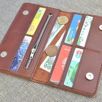 Коричневый кожаный кошелек на магнитных кнопках K27m-210