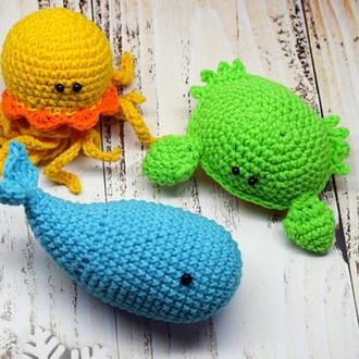 Морские обитатели Вязаные игрушки для малышей Интерьерные игрушки Подарок ребенку